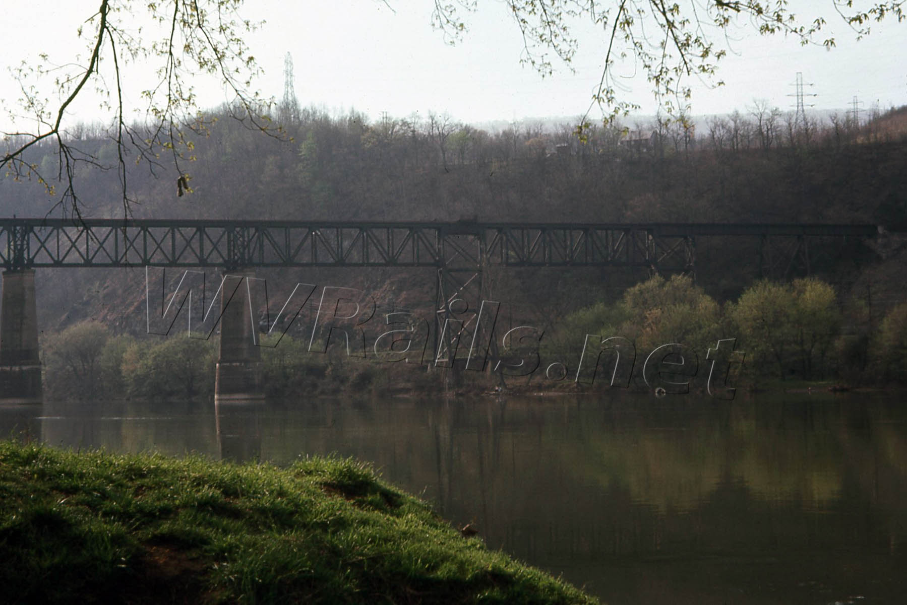Former Virginian Railway bridge over the New River and the N&W mainline at Glen Lyn, VA just across the West Virginia border in April 1968